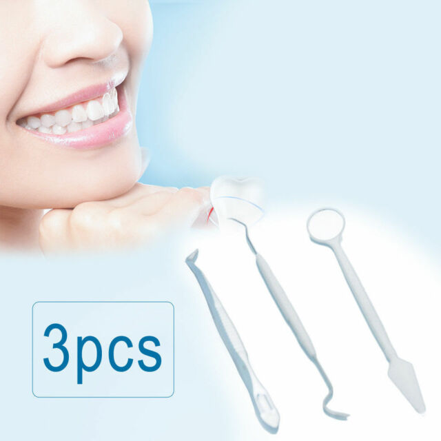 3Pc Dental Instruments Mouth Mirror Probe Tweezers Teeth Tooth Clean Hygiene Kit