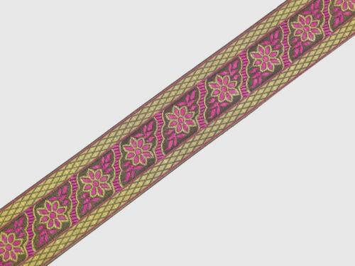 "5.08 Cm wide By The Yard Jacquard Trim Woven Braid Sew Ribbon T705 02/"""