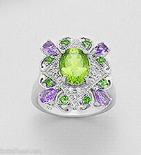 7g Solid Sterling Silver Peridot Amethyst Chromium Diopside Cocktail Ring size 8