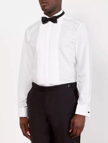 """John Lewis Pleat Front Wing Collar Regular Fit Dress Shirt UK 16"""" White"""