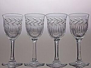 CUT-GLASS-LEAD-CRYSTAL-SHERRY-GLASSES-SET-OF-4