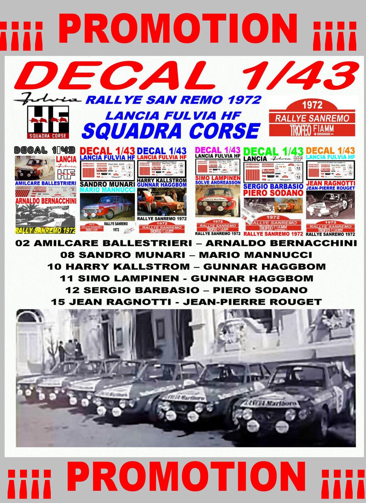 tienda en linea DECAL 1 43 SET RALLYE SAN SAN SAN REMO 1972 LANCIA FULVIA HF LANCIA TEAM (02)  Web oficial
