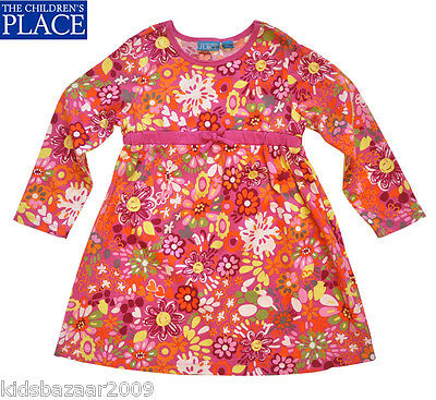 The Children's Place Girls Red Floral Print Long Sleeve Dress