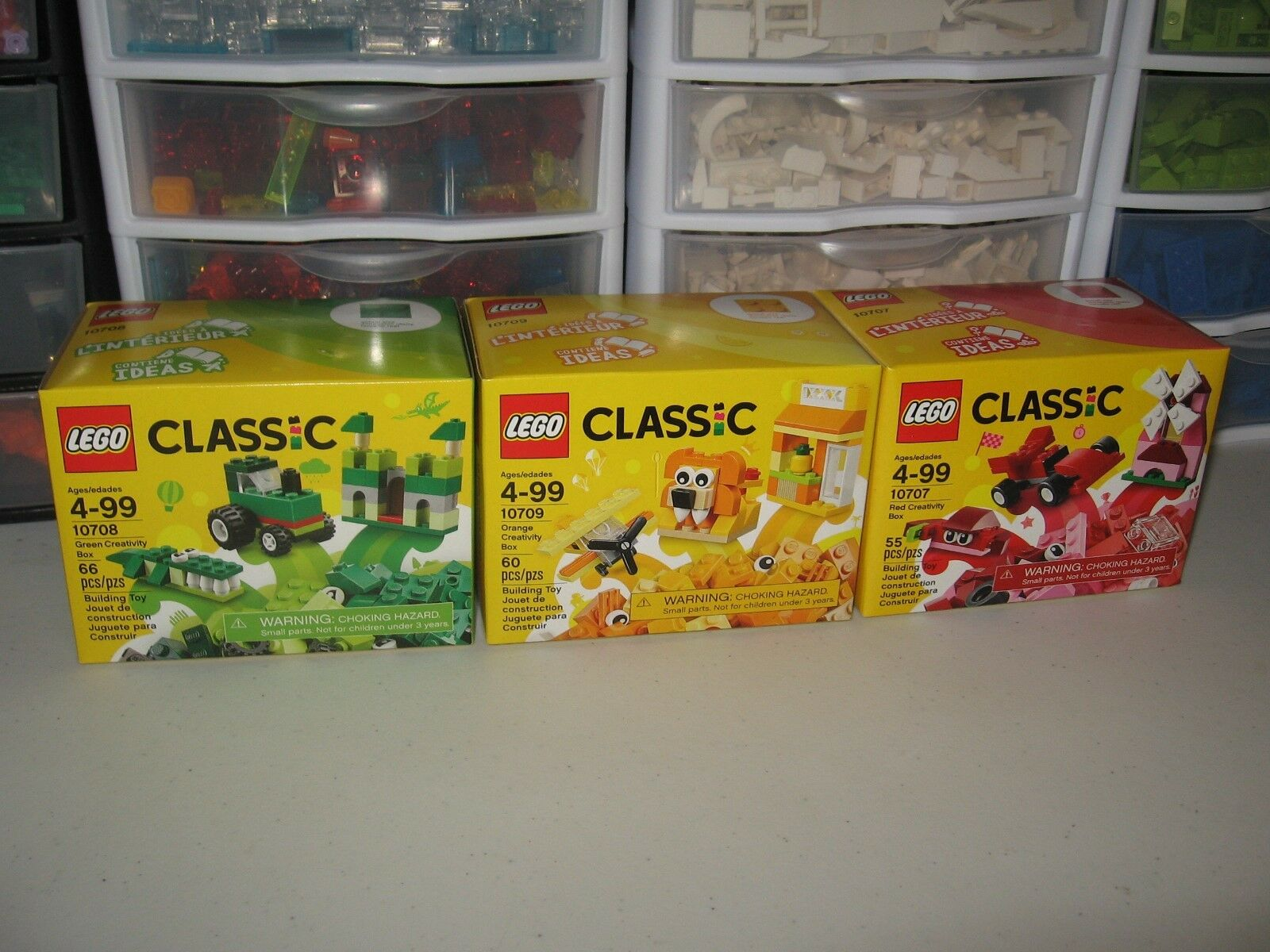 LEGO  CLASSIC  LOT OF 3 orange , RED , GREEN BRAND NEW UNOPENED