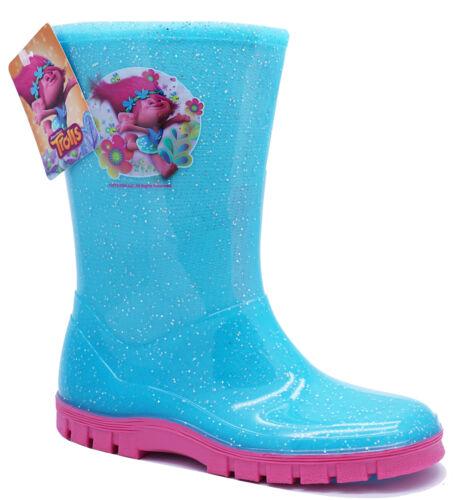 GIRLS BLUE GLITTER TROLLS WELLIES RAIN SPLASH SCHOOL WELLINGTON BOOTS SIZES 7-1