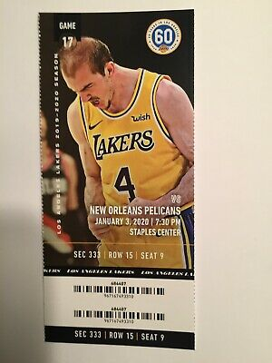 Los Angeles Lakers Vs New Orleans Pelicans January 3 2020 Ticket Stub Ebay