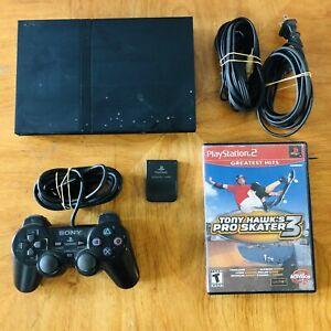 Sony-Playstation-2-PS2-Slim-SPCH-77001-W-Controller-Memory-Card-amp-Tony-Hawk-3