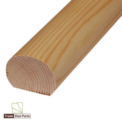 Solid Wood Oval Mopstick Stair Handrail Wall Fix Pine