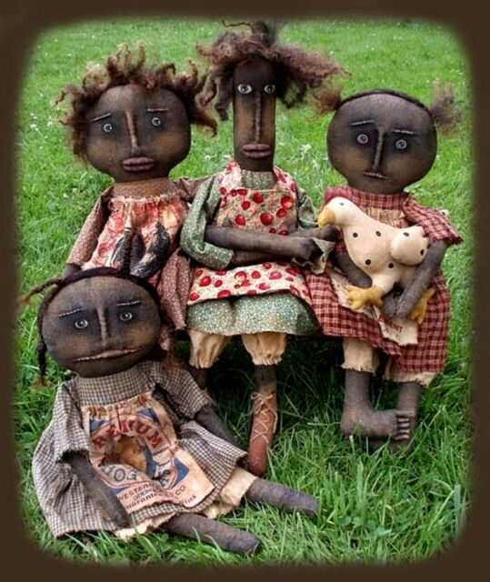 Primitive Pattern Henpecked Ladies Black Dolls And Chickens LOOK !
