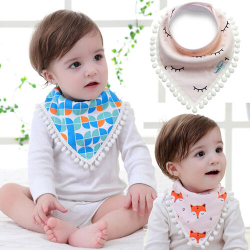 Baby Kids Infant Girl Boy Tassel Saliva Towel Bandana Triangle Bibs Head Scarf