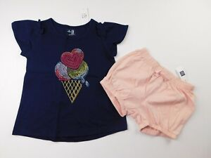 NWT-Gap-Toddler-Girl-039-s-2-Pc-Outfit-T-Shirt-Pink-Bubble-Shorts-4-Yr-MSRP-35