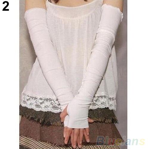 Women/'s Cotton UV Protection Arm Warmer Long Fingerless Gloves Sleeves Bluelans
