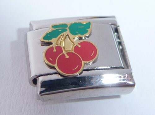 RED CHERRIES Italian Charm Cherry Fruit 9mm fits Classic Starter Bracelers E13