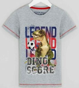 93cf7338 Boys Kids T-Rex Dinosaur Jurassic World Football T-Shirt Top Ages 4 ...