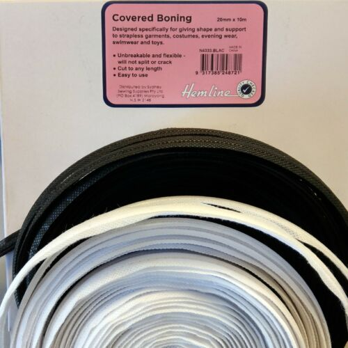 Covered Boning ~ Hemline ~ Black or White  ~ 1 Metre