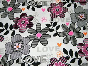 BTY-Kanvas-THINK-PINK-Pop-Flowers-Print-100-Cotton-Quilt-Craft-Fabric-by-Yard