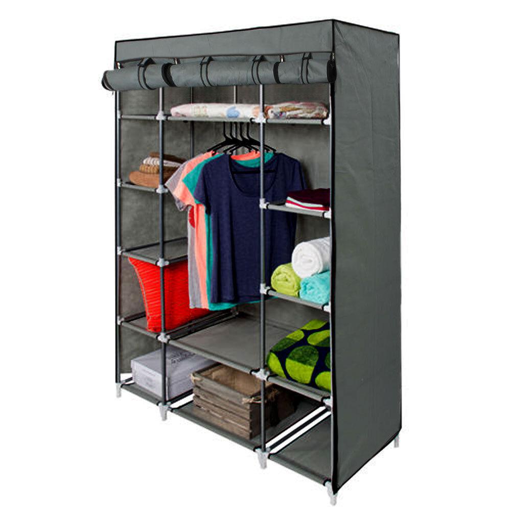 adjustable rolling clothes rack double bar hanging garment. Black Bedroom Furniture Sets. Home Design Ideas