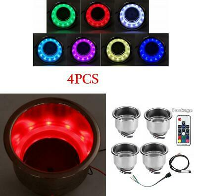 4x Stainless Steel Cup Drink Holder with 14LED RGB Lights+Remote Car Marine Boat