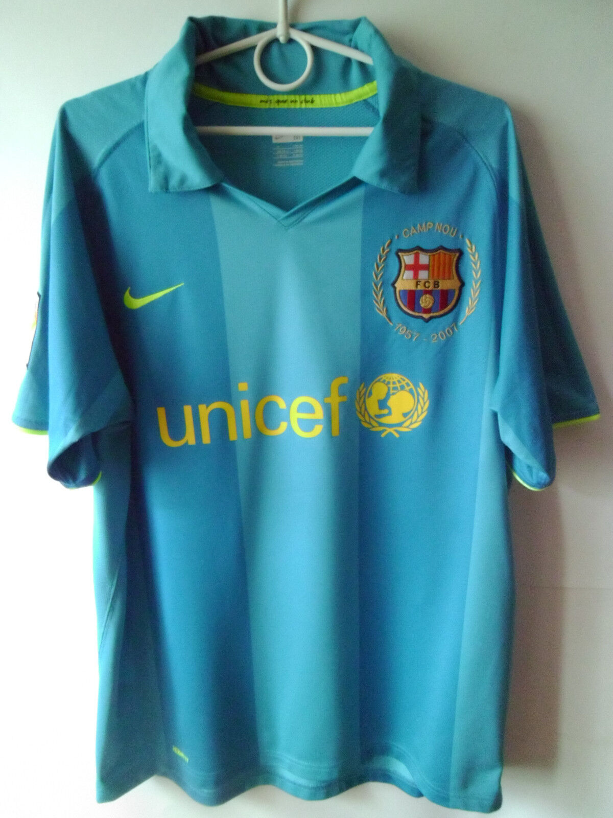 RARE    EXCELLENT    2007-09 Barcelona Away Shirt Jersey M