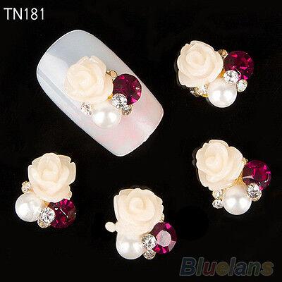 10x Womens 3D Rose Nail Art Stickers Studs Shiny Metallic Crystal Nail Jewelry
