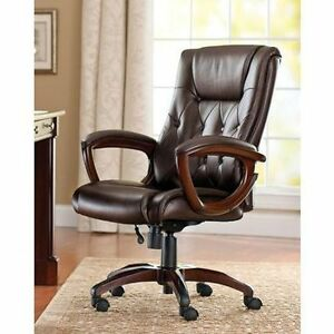 heavy duty leather office rolling computer chair brown high back