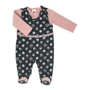56 Mädchen Set NEU ♥ Strampler Overall Baby Schlafanzug /& Mütze Gr 62 74 68