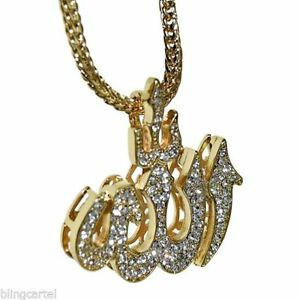 Allah symbol bling pendant gold finish 36 in long franco chain image is loading allah symbol bling pendant gold finish 36 034 mozeypictures Choice Image