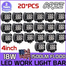 20Pcs 18W 4 Inch Cree LED Light Bar Flood Work ATV JEEP Pickup Reverse POD UTE