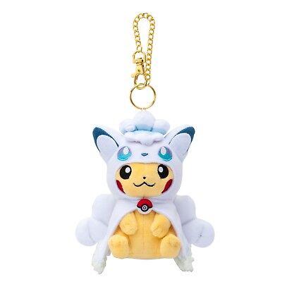 Pokemon Center Mascot Alola Vulpix Poncho Pikachu Soft Plush Toys Doll Key Chain