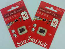 SanDisk Lot of 2x 16GB = 32GB Class 4 micro SD SDHC microSD HC Memory Flash Card
