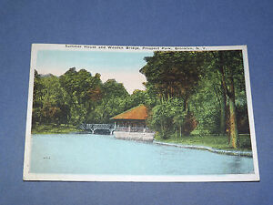 VINTAGE-1924-WOODEN-BRIDGE-PROSPECT-PARK-BROOKLYN-NEW-YORK-POSTCARD