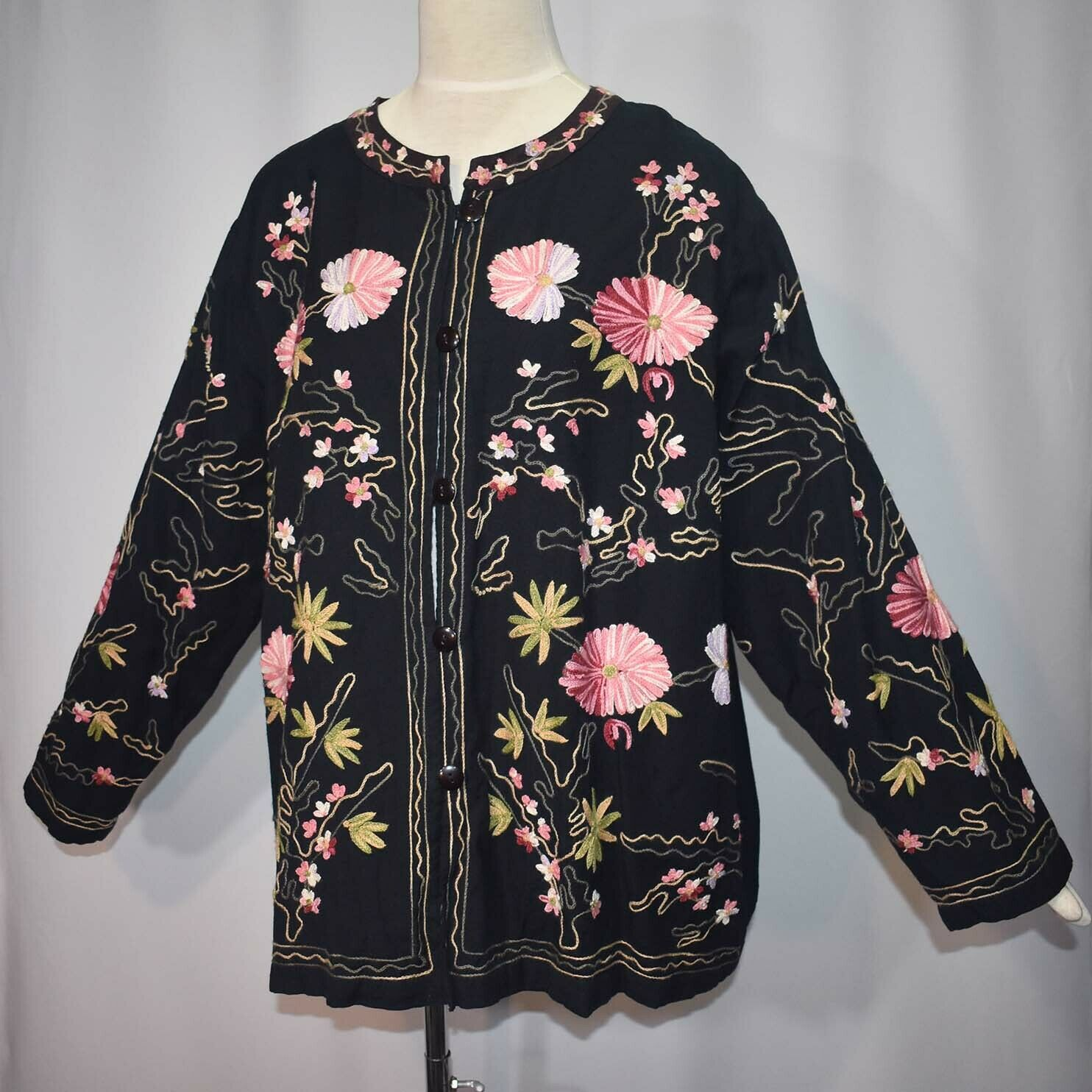 Floral Embroidered Cotton Blend Button Front Cardigan Jacket 3X 3XW Bedford Fair