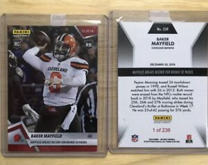 a7279229539f Image is loading 2018-PANINI-INSTANT-BAKER-MAYFIELD-SETS-ROOKIE-RECORD-