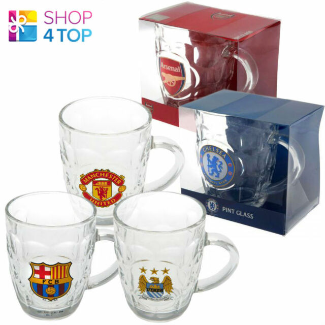 FOOTBALL SOCCER CLUB TEAM TANKARD BEER GLASS 1 PINT CLEAR OFFICIAL LICENSED NEW