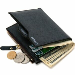 Genuine-Vintage-Zipper-ID-Card-Holder-Bifold-Leather-Wallet-Men-039-s-Purse