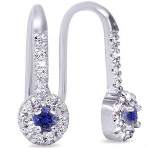 1/3ct Blue Sapphire & Diamond Drop Earrings 10K White Gold ...