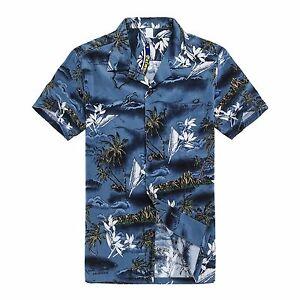 NWT-Aloha-Shirt-Cruise-Tropical-Luau-Beach-Hawaiian-Party-Blue-Surf-Palm-Tree