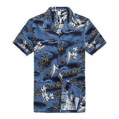 NWT Aloha Shirt Cruise Tropical Luau Beach Hawaiian Party Blue Surf Palm Tree