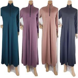 Details about Rib Maxi Abaya Plain High Neck Zip,Pockets Winter Warm Dress  Sizes 52,54,56,58