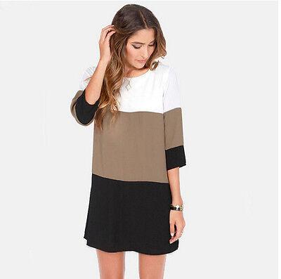 Women Striped Chiffon Casual 3/4 Sleeve Long Top Blouse Shirt Loose Tunic Dress