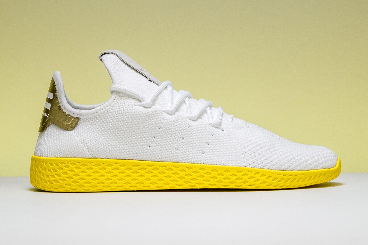 Adidas Adidas Adidas Pharrell Tennis HU PK Primeknit White Yellow BY2674 Size 6.5. nmd yeezy 0c420a