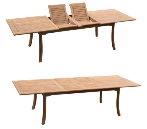 "9pc Grade-A Teak Dining Set 118"" Rectangle Table 8 Wave Stacking Arm Chairs"