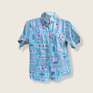 vintage 90's Preview International Women's Blouse Shirt cottagecore dolphins M