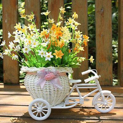 White Tricycle Bike Design Flower Basket Storage Container Party Weddding