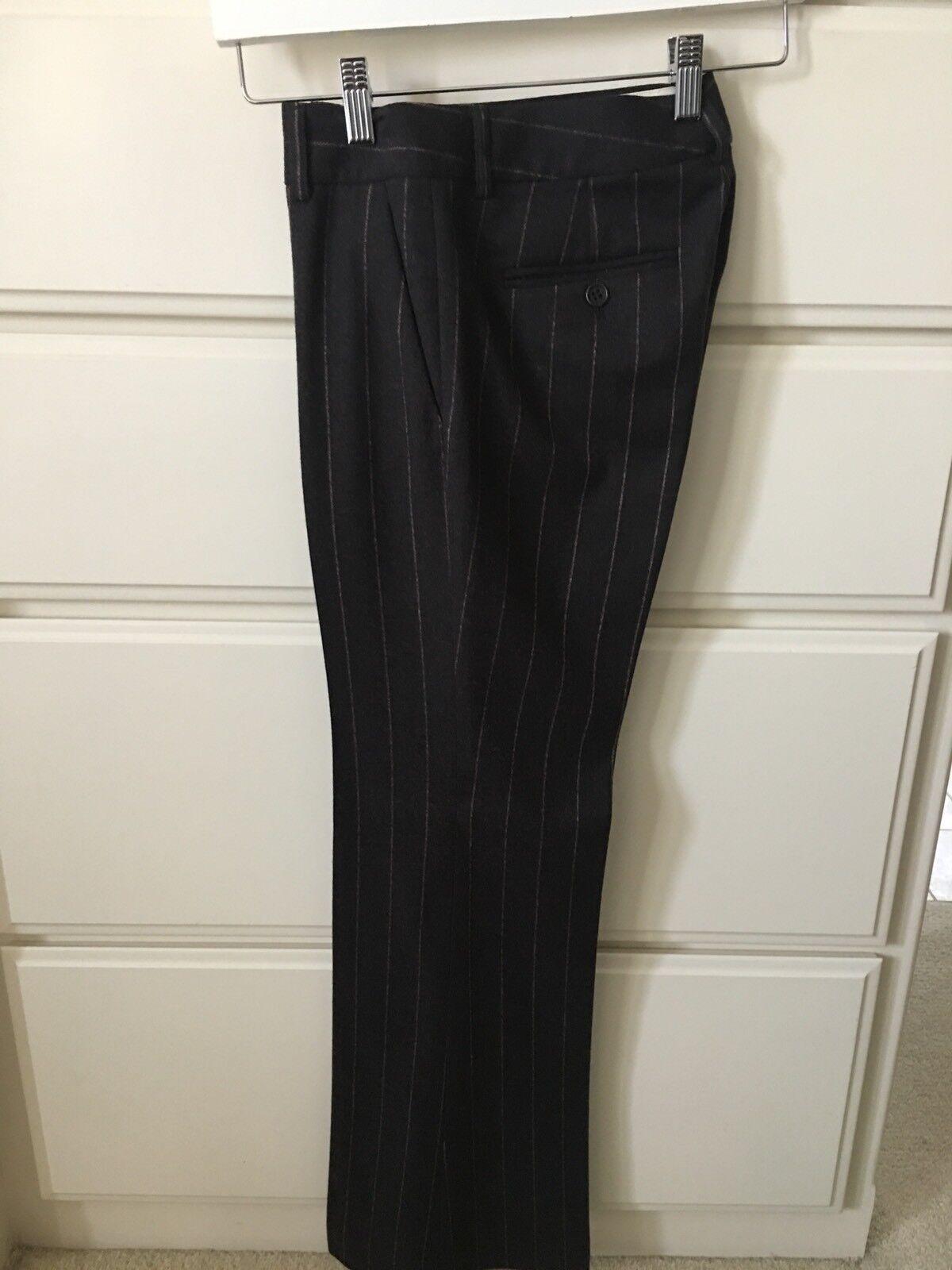 Theory Pin Stripe Charcoal Wool Pants Size 0