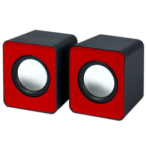 Red by Frisby 2.0 USB Powered Portable Dual Mini Speakers for Computers