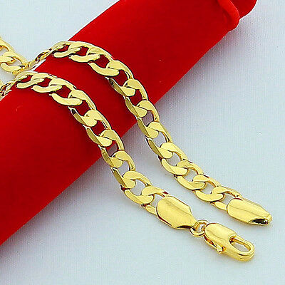 10mm 24 Inches Cuban Curb Chain 18K Gold Plated Men/'s Necklace Jewelry