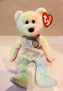 "Vintage 1999 ""B.B. Bear"" the Tie Dye Birthday Bear Ty Beanie Baby #9398 MWMT"