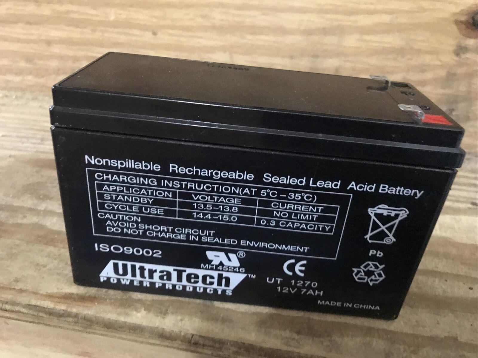 UltraTech UT-1270 12V, 7Ah Sealed Lead Acid Alarm Battery UT1270 ISO9001