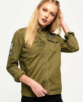 71f05553 New Womens Superdry Rookie Patch Military Shirt Dark Khaki | eBay